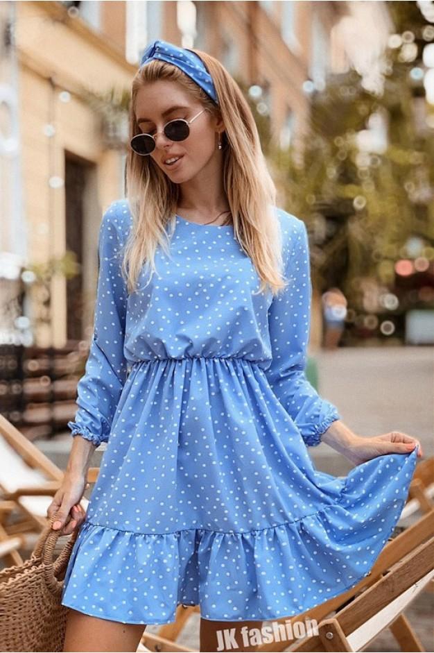 Голубое платье в горох длиной до колен - 1333