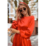 Красное платье (шелк с блеском) длиной до колен - 1334