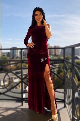 Бархатное платье в пол с разрезом (бордо) - 1340