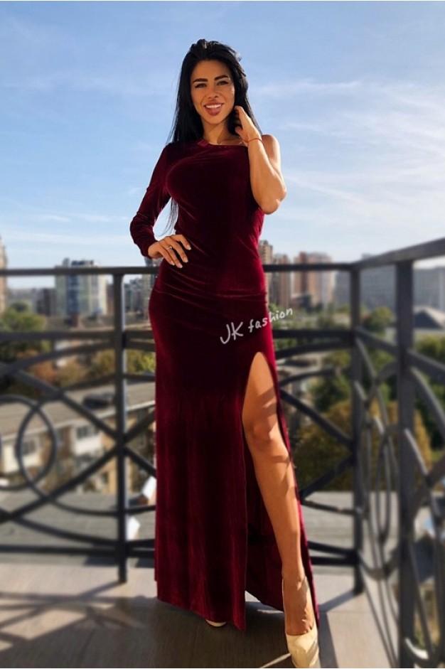 Оксамитове плаття в підлогу з розрізом (бордо) - 1340