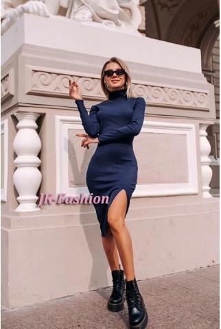 Плаття гольф в рубчик темно-синього кольору - 1342
