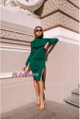 Плаття гольф в рубчик зеленого кольору - 1343