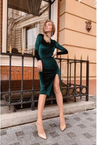 Зеленое бархатное платье миди - 1346