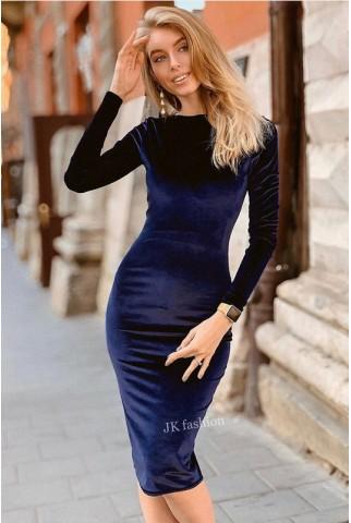 Синее бархатное платье миди - 1352