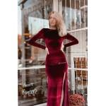 Вечернее бархатное платье в пол Бордо - 1356