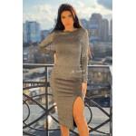 Вечернее платье из люрекса с разрезом на ноге - 1366