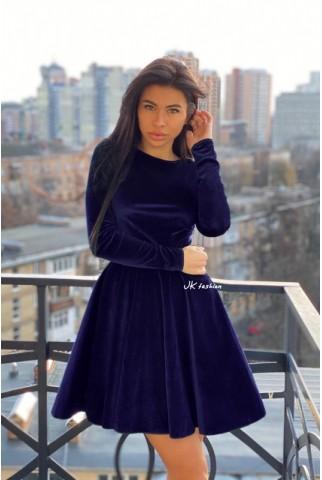 Оксамитове синє плаття зі спідницею напівсонце - 1367