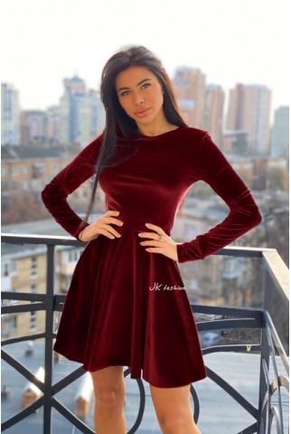 Оксамитове плаття бордо з спідницею напівсонце - 1368