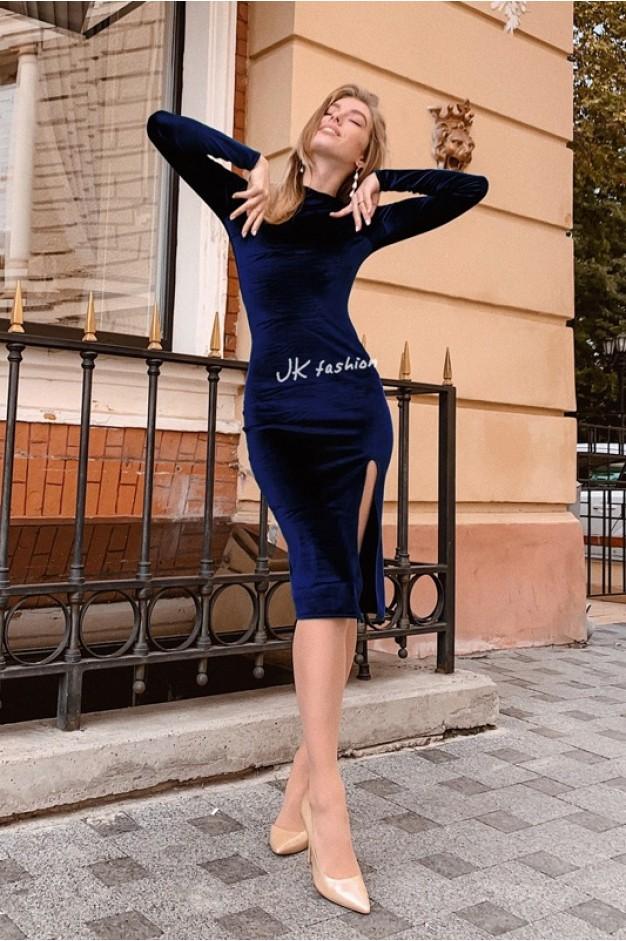 Бархатное платье по фигуре с разрезом на ноге Синее - 1370