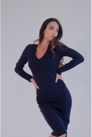 Облегающее синее платье рубчик V-вырезом - 1373