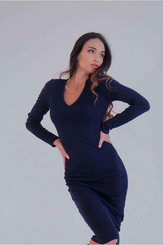 Облягаюче синє плаття рубчик V-вирізом - 1373