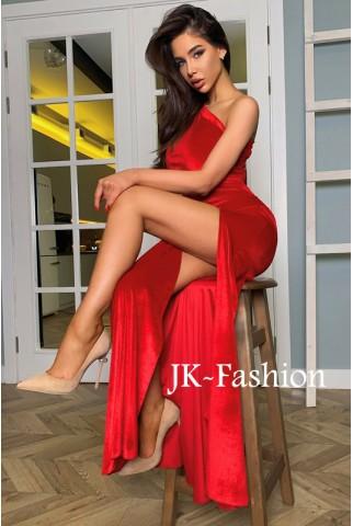 Красное бархатное платье с разрезом на ноге - 1377