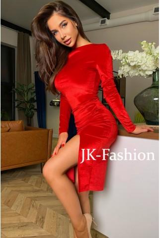 Красное бархатное платье мини с разрезом - 1379