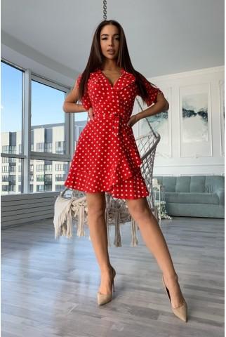 Красное платье в белый горошек - 1389