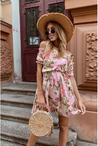Плаття в квітковий принт з відкритими плечима - 1394