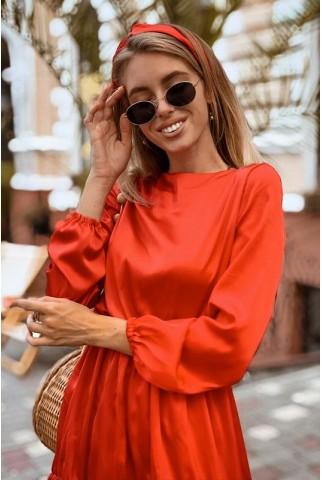 Платье с повязкой из красного шелка - 1395