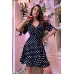 Плаття в горох чорне на запах - 1403
