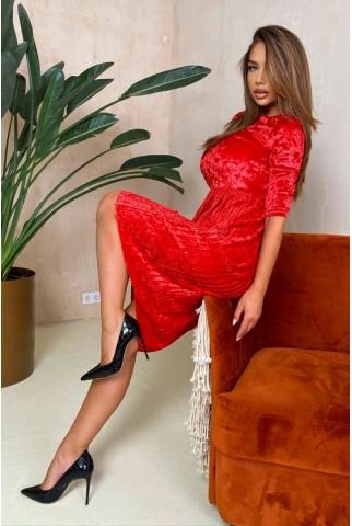 Красное платье с плиссированной юбкой - 1411