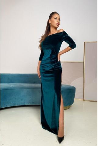 Вечернее платье в пол с разрезом, изумруд - 1413