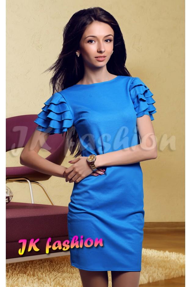 Голубое платье-футляр с рюшами на рукавах 663