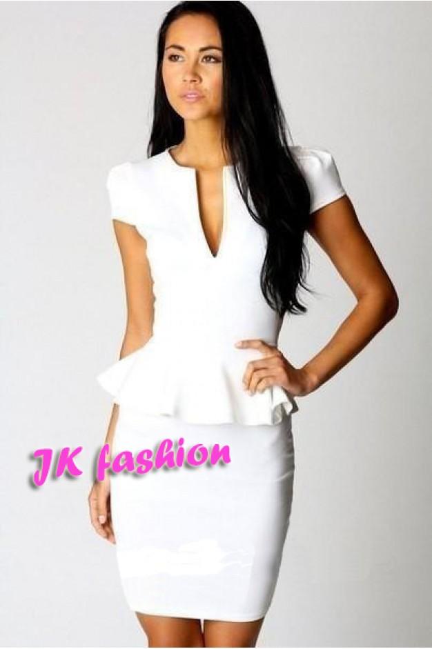 Белое платье с воланами на короткий рукав 362