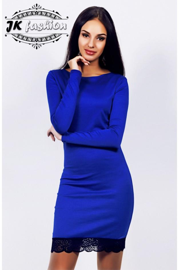 Синє плаття прямого крою на довгий рукав з мереживом 862