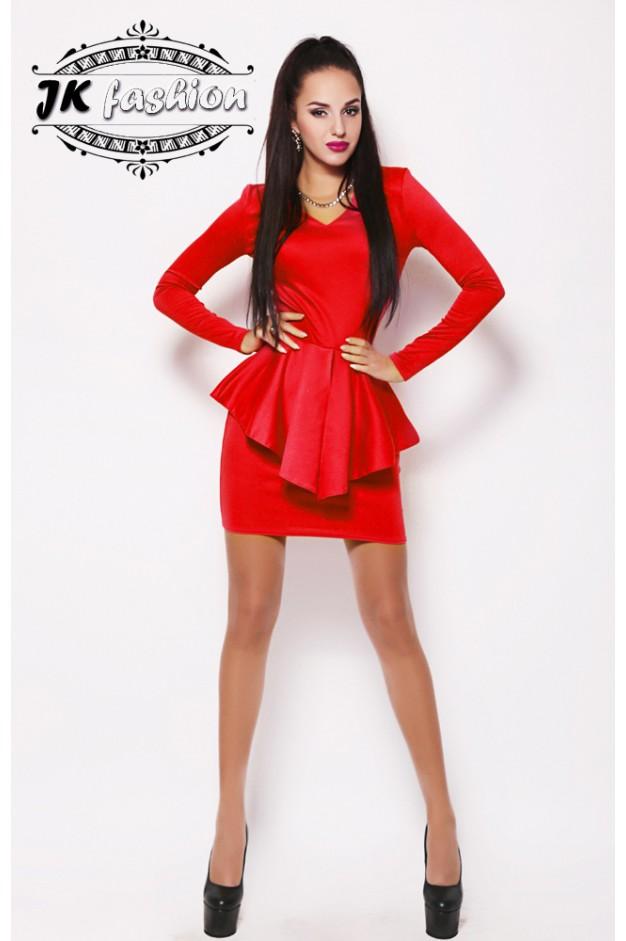 Червона сукня міні з трикутною горловиною 881