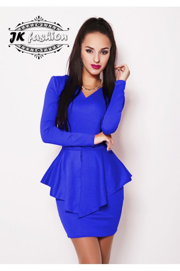 Синє плаття футляр з трикутною горловиною 882