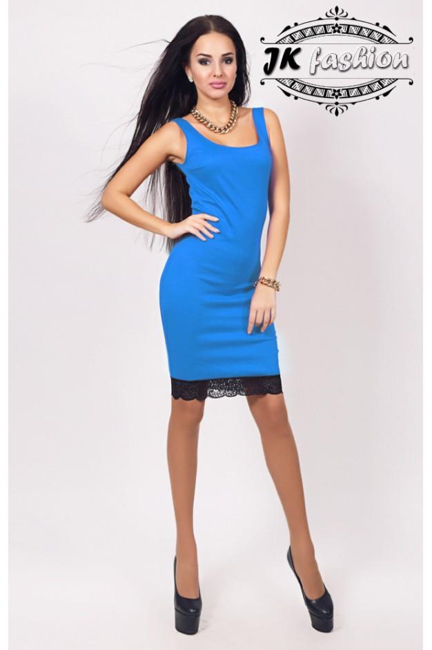 Сукня футляр з широкими лямками блакитного кольору 913