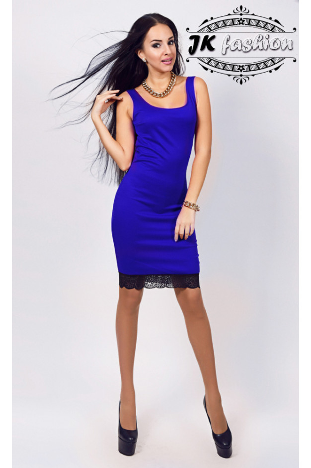 Синє плаття футляр з мереживом і широкими лямками 915
