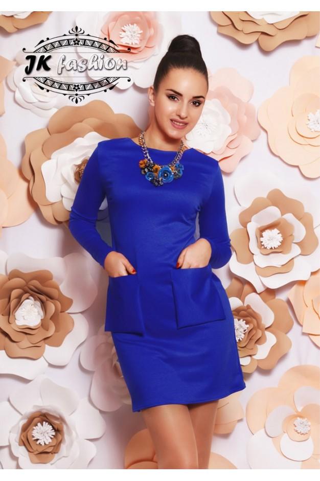 Короткое платье синего цвета с квадратными карманами 949