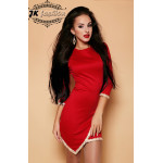 Червона сукня футляр із золотистими паєтками 853