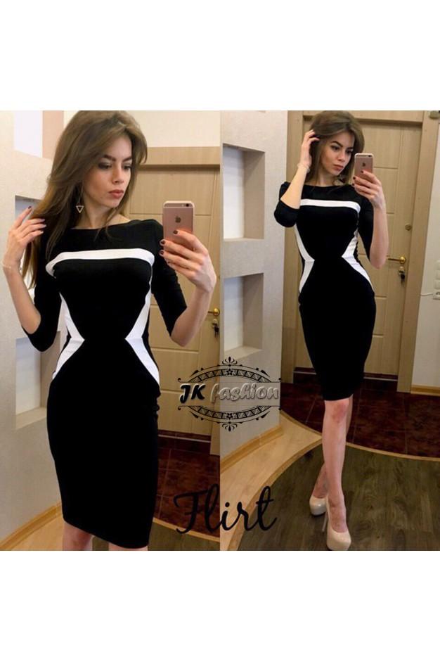 Черное миди платье с асимметричными вставками 976