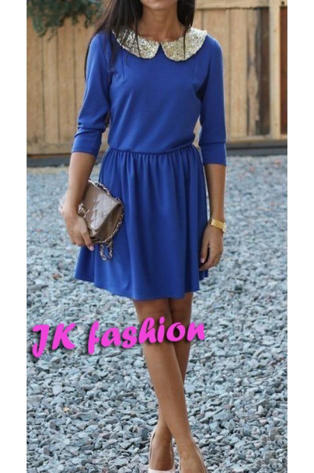 Платье синего цвета с пайетками на воротнике 488