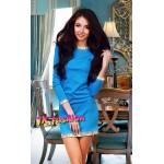 Голубое платье мини на рукав 3/4 с золотистыми пайетками 708
