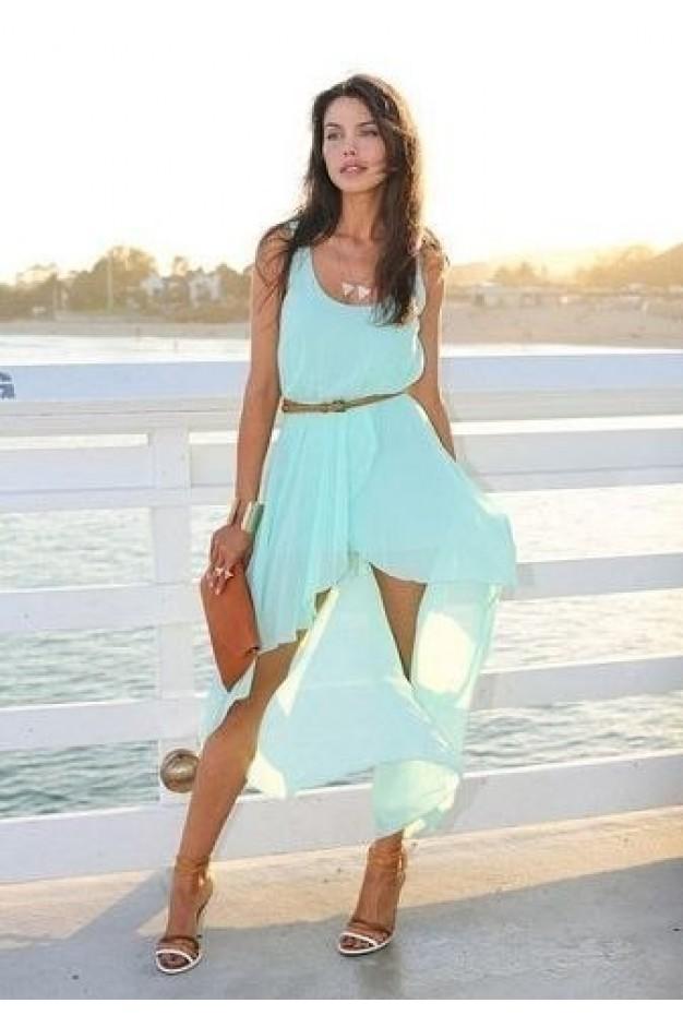 Блакитне шифонове плаття з шлейфом 431