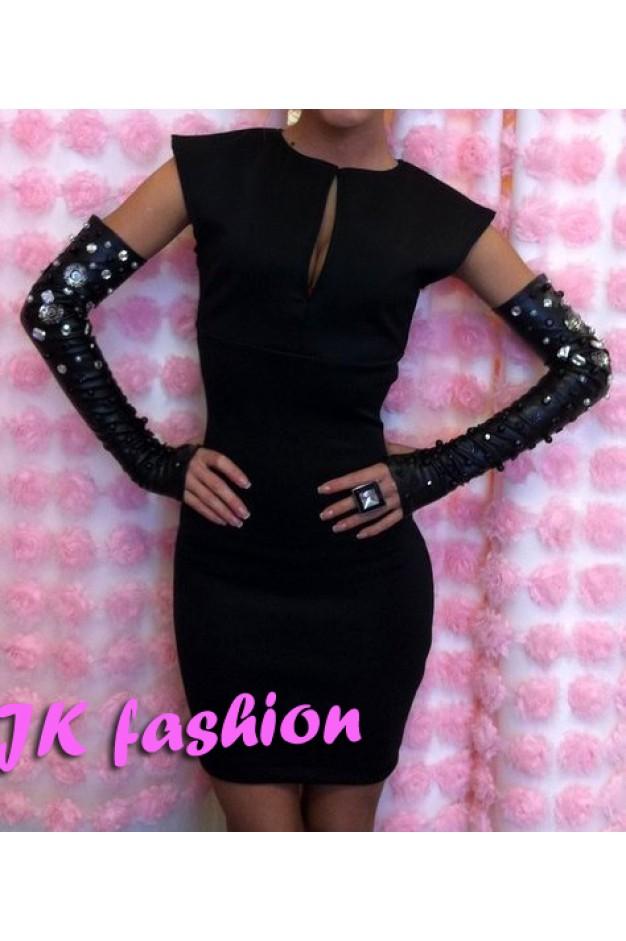 Черное платье мини горловина капелькой 582